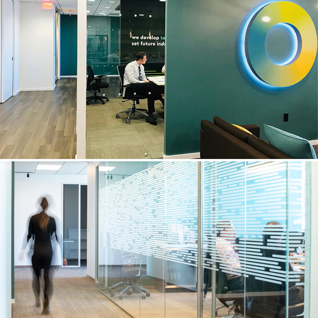 Photos of the Ofinno offices with Grafik designed interior branding. Both photos are of hallways.