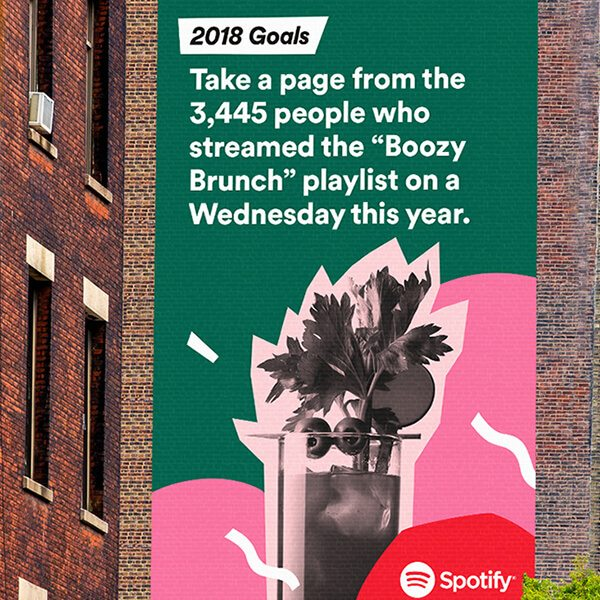 Spotify graffiti on building with the title 2018 goals - Take a page from the 3,445 people who streamed the
