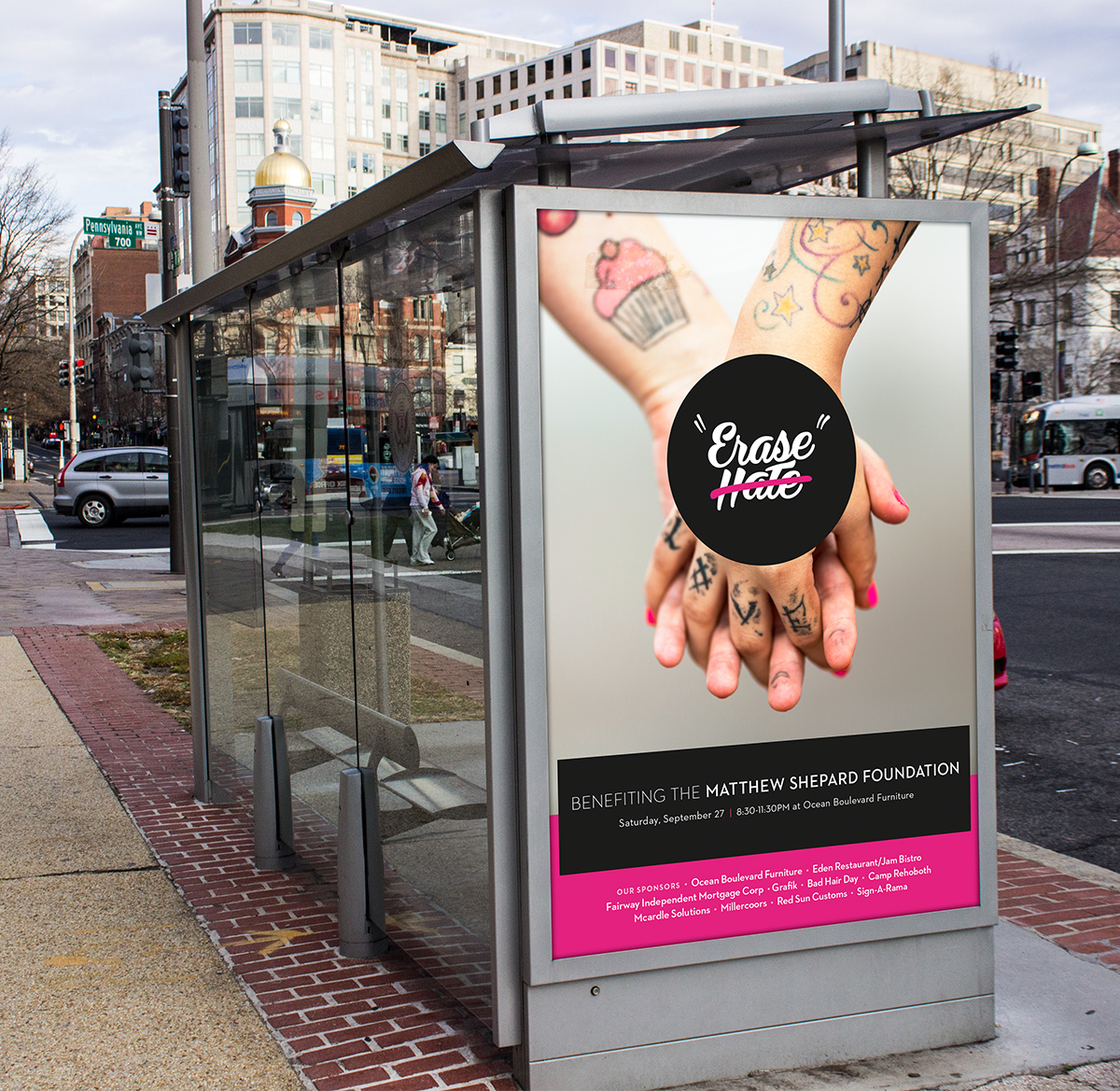 Erase Hate bus stop marketing advertisement using the new brand identity.