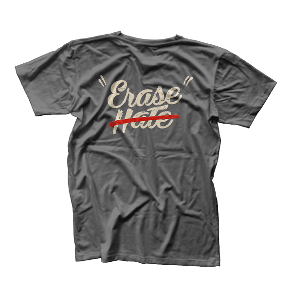 A t-shirt design as part of Erase Hate's branded collateral for the event.