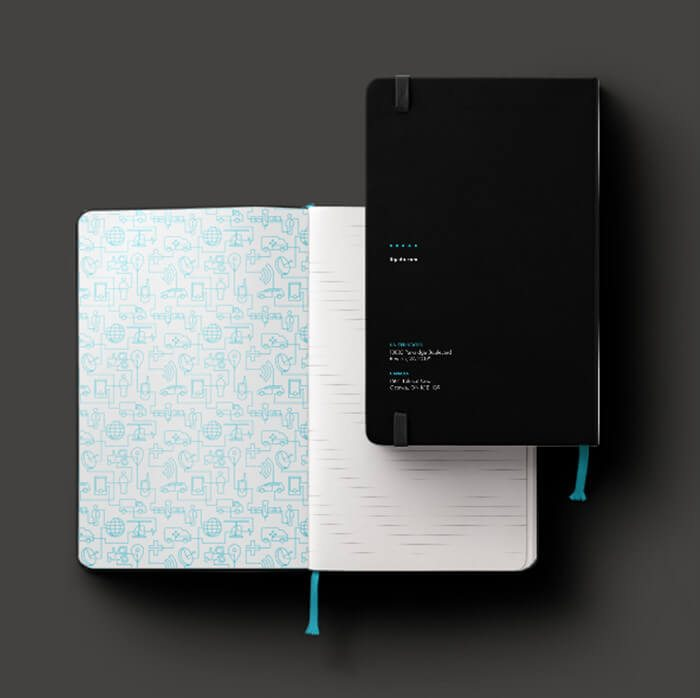 Case study branding services example of Ligado's moleskin journal that aligns with their new brand identity created by top brand consultants at Grafik.