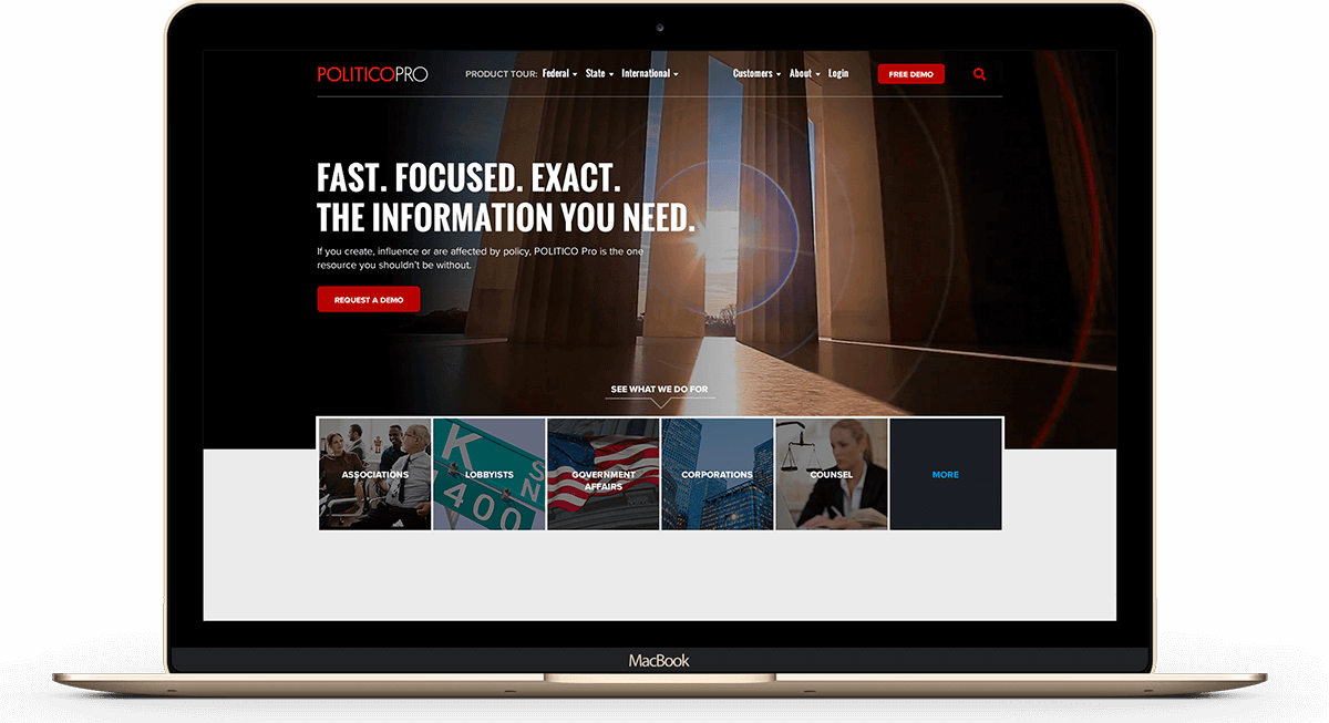 Website rebranding for Politico Pro executed by digital marketing agency, Grafik.