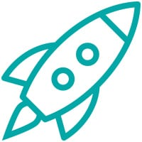 Blue Rocket ship Icon