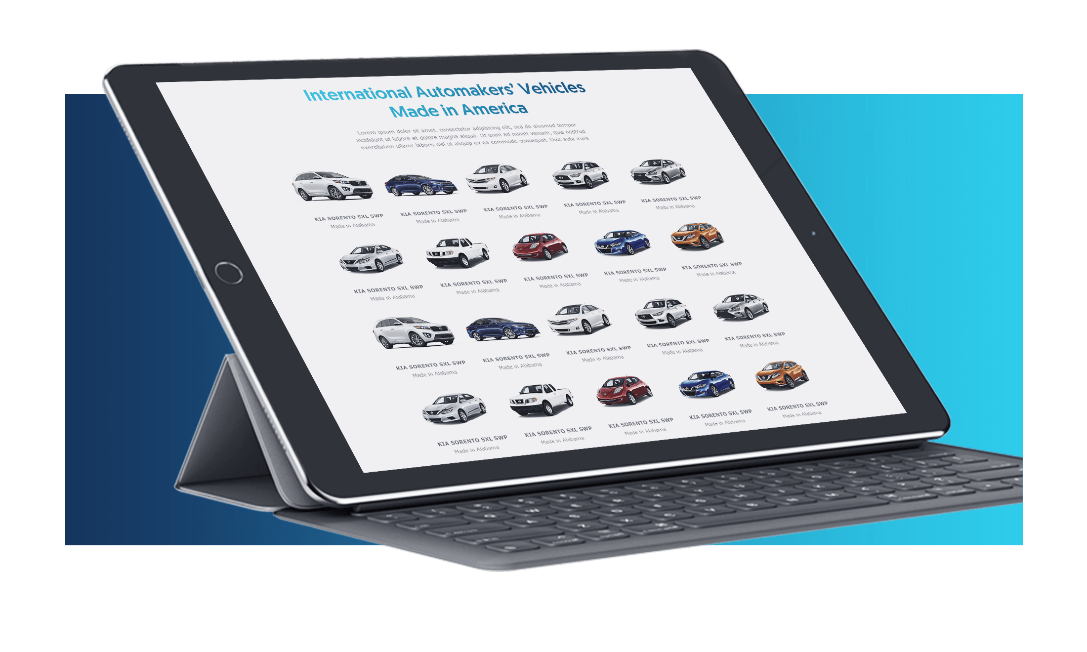 International Automakers' Vehicles Made in America website on Ipad